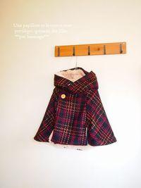 KIDS服*女の子ウールでフーディットポンチョ