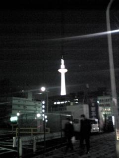寒い。寒すぎてとにかく不機嫌。@京都タワー