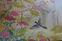 ヤマガラの描かれた加賀友禅