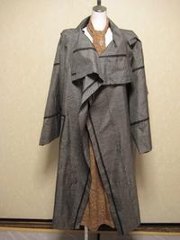 作品。  春にぴったし大島、単衣のコート