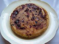 ブルーベリーソースの豆腐チーズケーキ